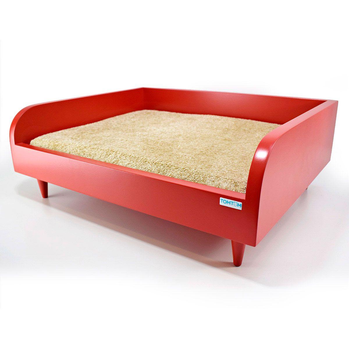 Sofá para Cachorro Tomtom Vermelho com Almofada Bege - M