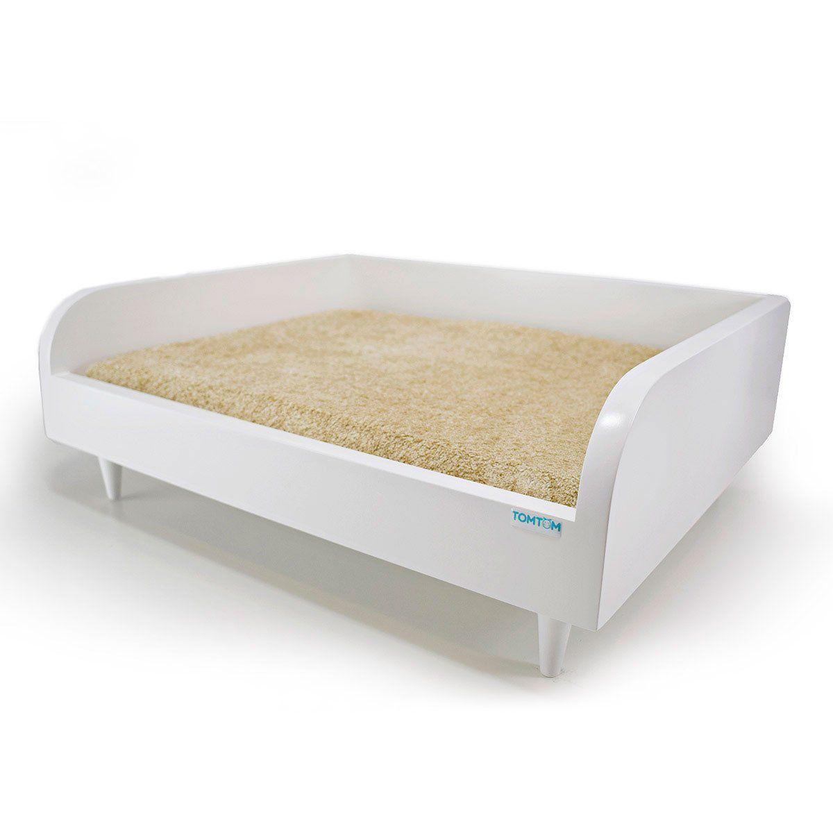 Sofá para Cachorro Tomtom Branco com Almofada Bege - P