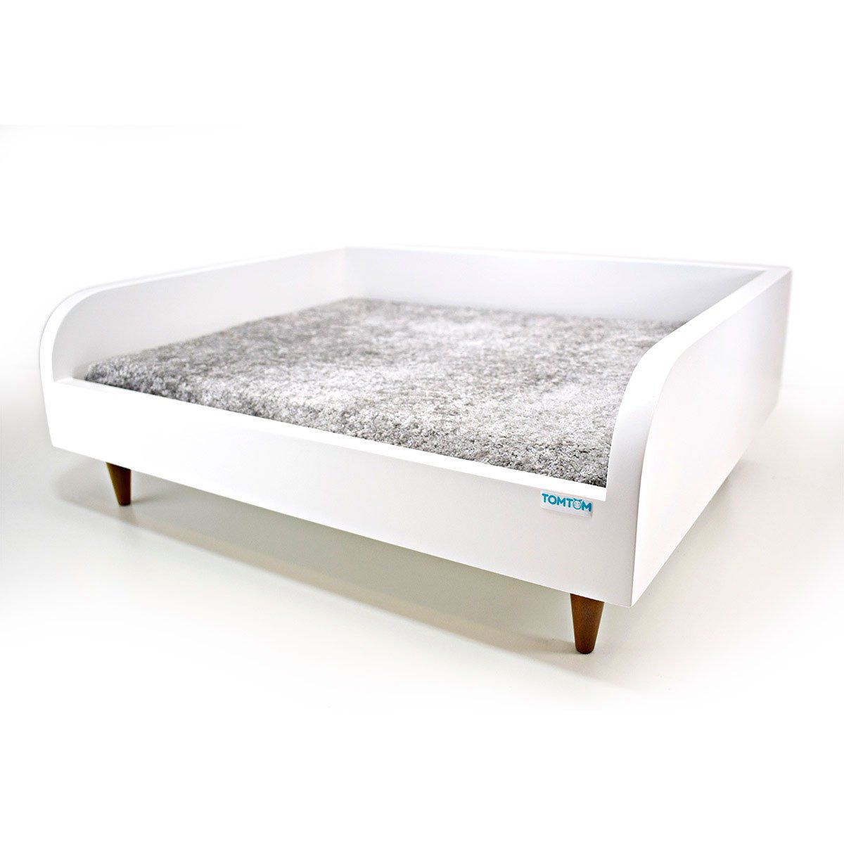 Sofá para Cachorro Tomtom Branco com Almofada Cinza - P
