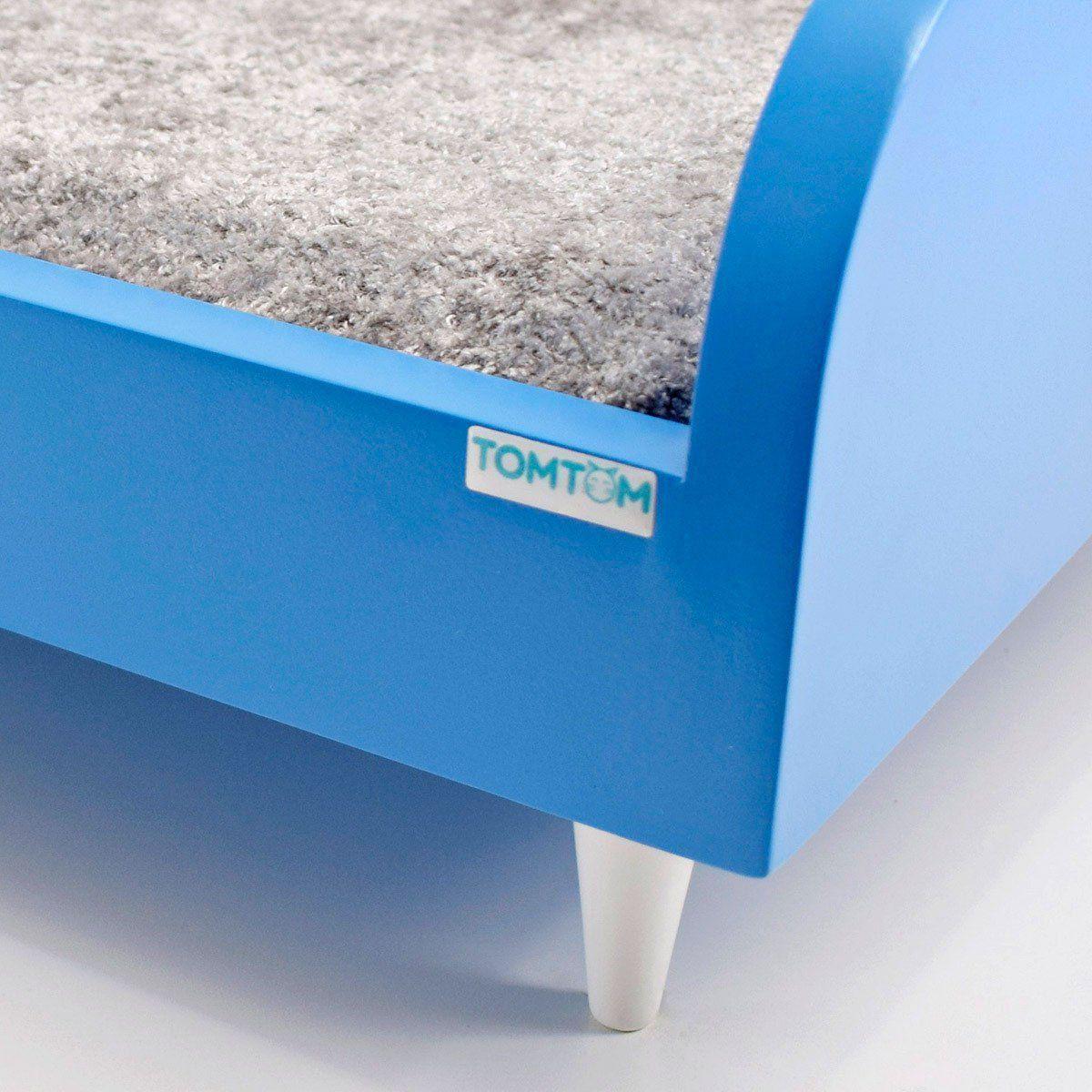 Sofá para Cachorro Tomtom Pet Azul com Almofada Cinza - M