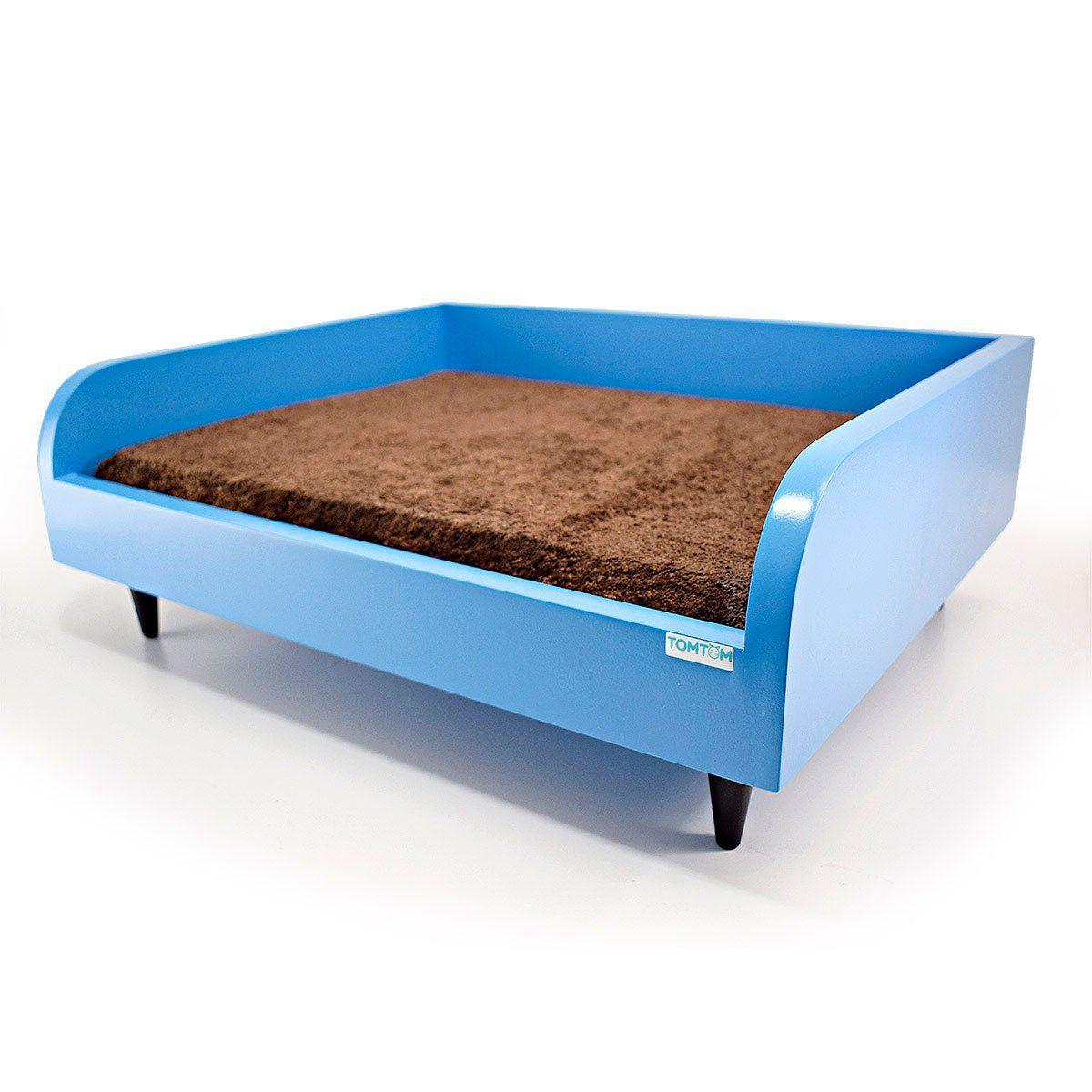 Sofá para Cachorro Tomtom Pet Azul com Almofada Marrom - M