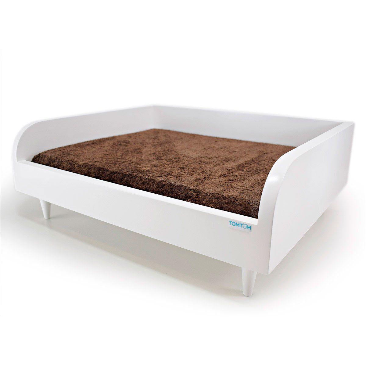 Sofá para Cachorro Tomtom Pet Branco com Almofada Marrom - M