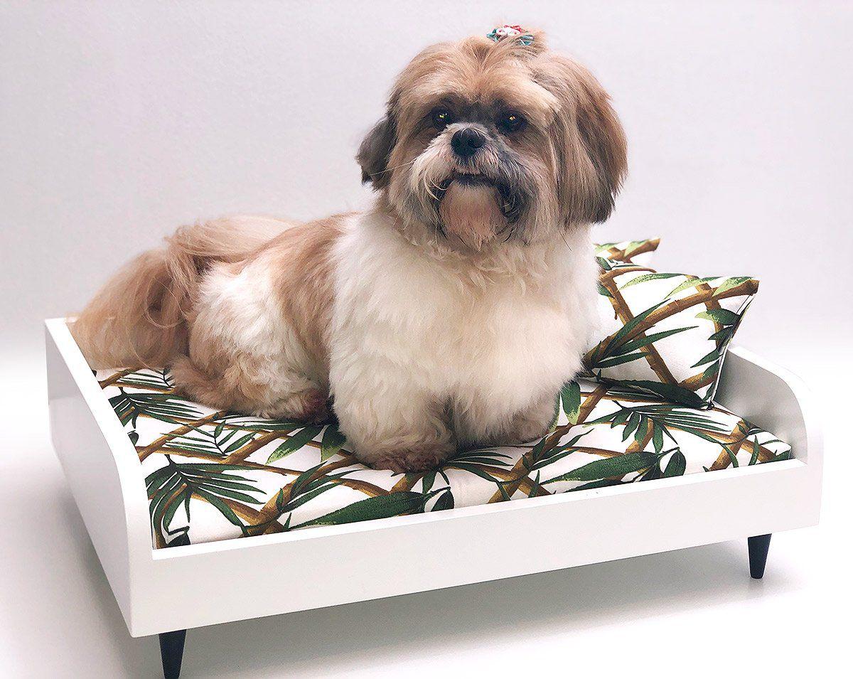Sofá para Cachorro Tomtom Pet Especial Branco Bambu