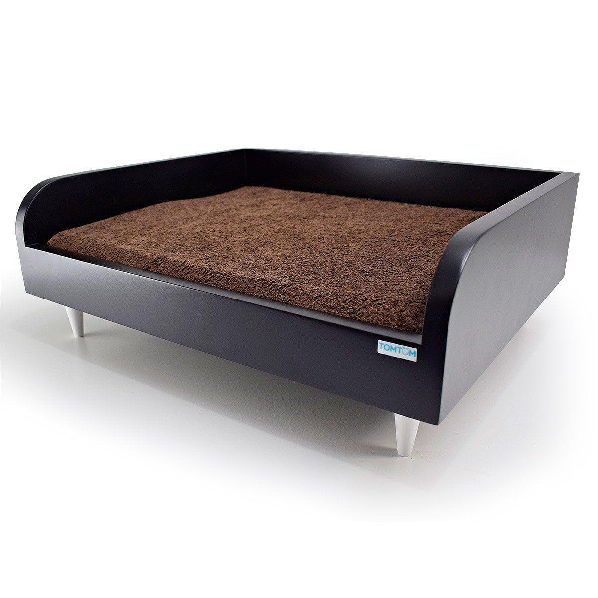 Sofá para Cachorro Tomtom Preto com Almofada Marrom - M