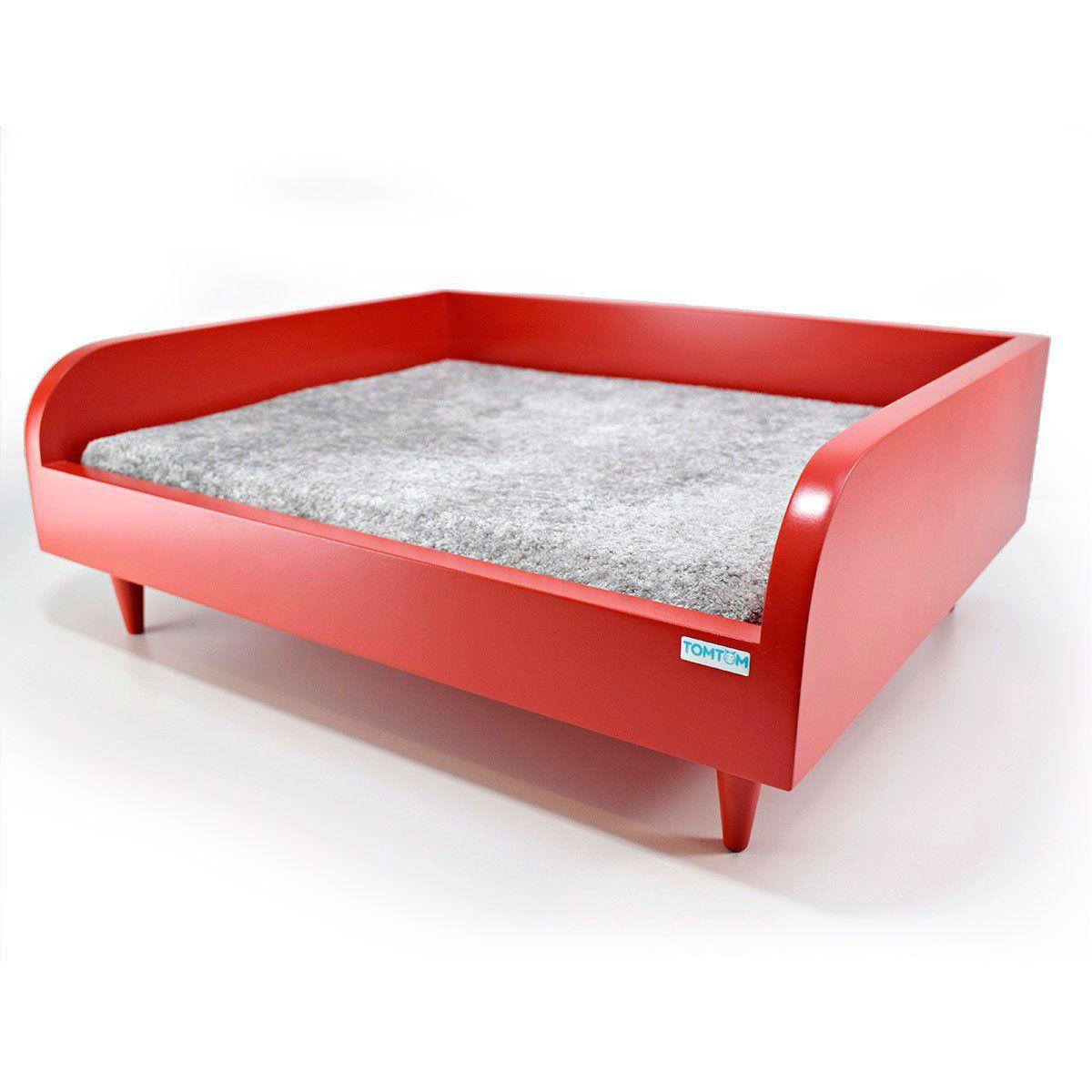Sofá para Cachorro Tomtom Vermelho com Almofada Cinza - M