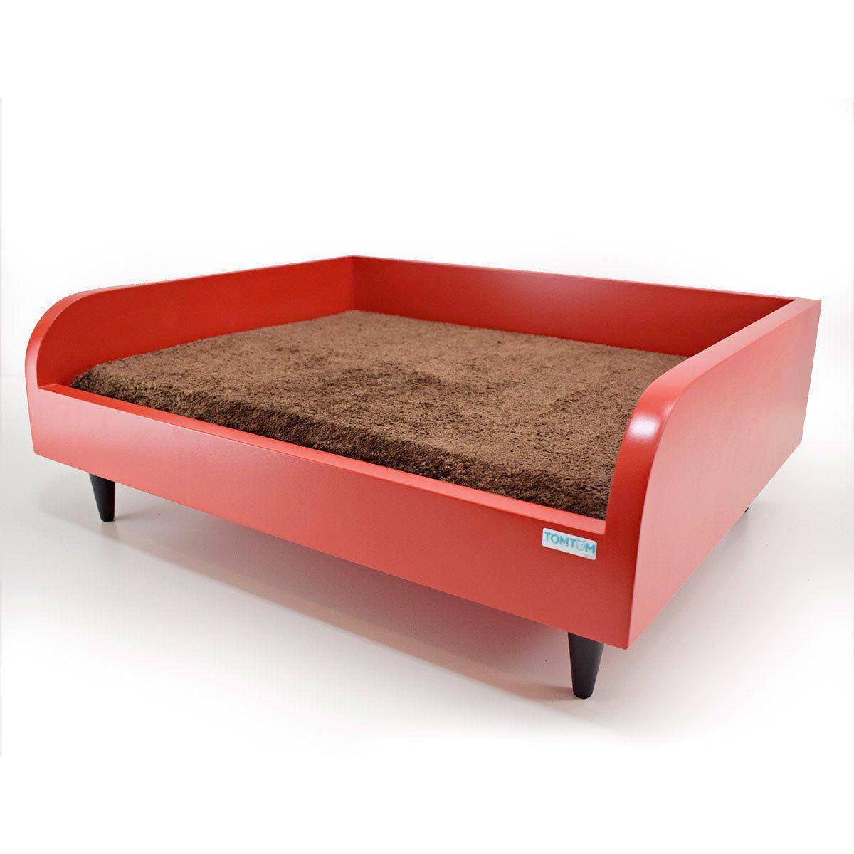 Sofá para Cachorro Tomtom Vermelho com Almofada Marrom - M