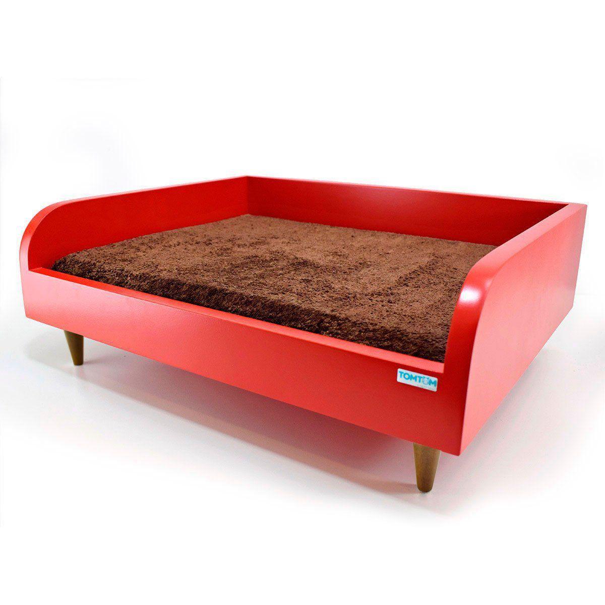 Sofá para Cachorro Tomtom Vermelho com Almofada Marrom - P
