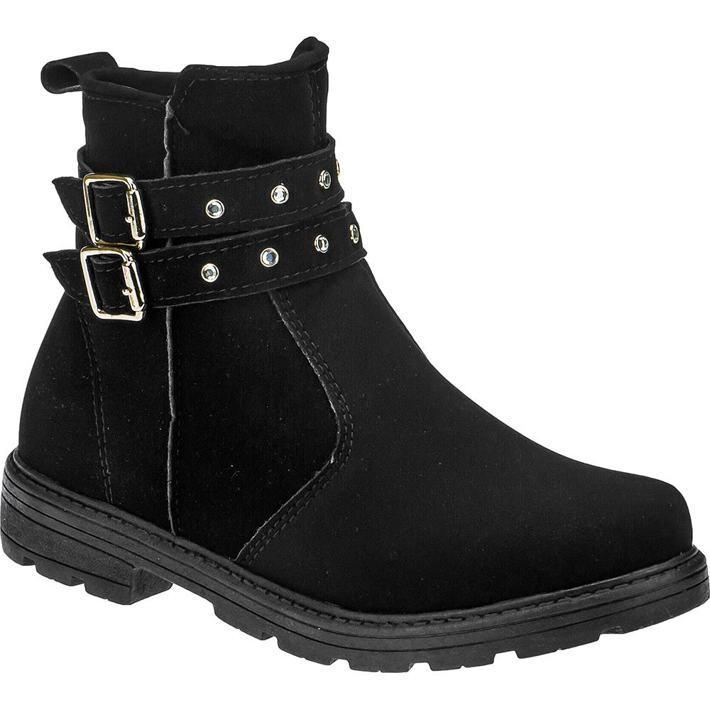 Bota Infantil Feminina Cano Curto Ankle Boot 202.33.009   Preta