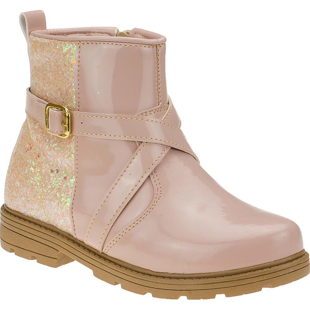 Bota Infantil Feminina Menina Fashion Cano Curto Com Glitter 202.36.135 | Rosa