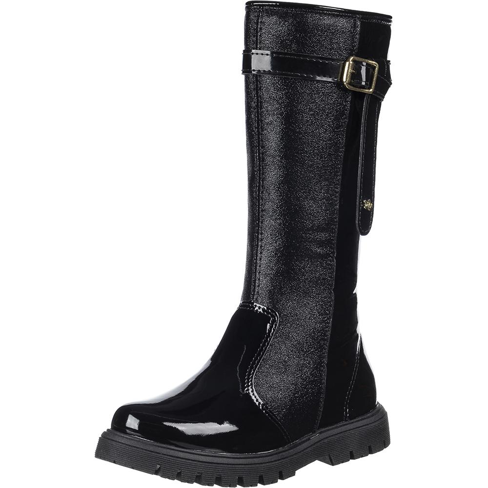 Bota Over The Knee Tratorada Infantil Verniz Textura Menina Fashion 99.149.172   Preto Verniz