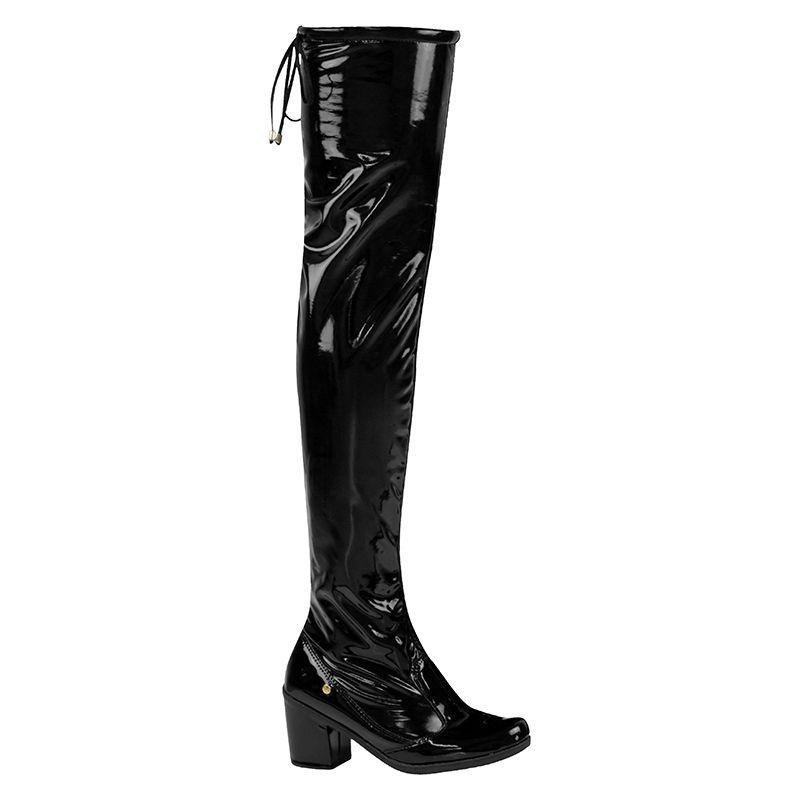 Bota Salto Feminina Over The Knee Verniz Stretch 122.09.172 | Preto