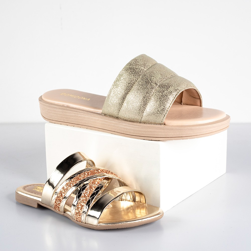 Kit Chinelo Slide Feminino + Sandália Infantil Com Glitter | Dourado #Mãeefilha