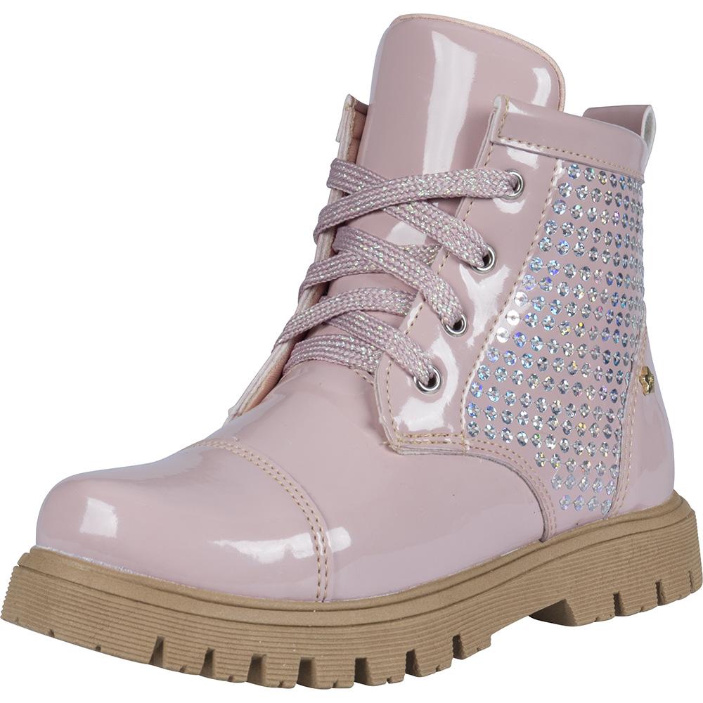 Coturno Infantil Menina Fashion Tratorado Paetê Verniz 204.63.002   Rosa