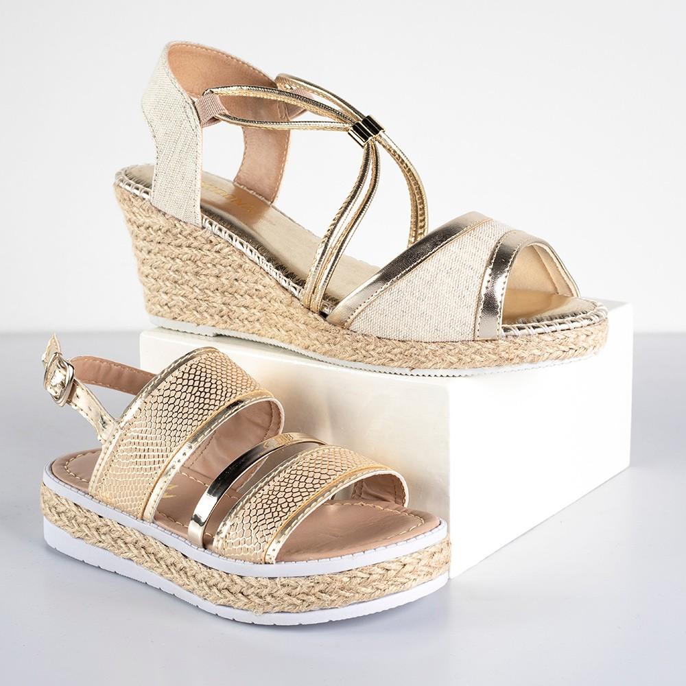 Kit Sandália Anabela Domidona + Sandália Flatform Infantil Menina Fashion Corda | Dourada #Mãeefilha