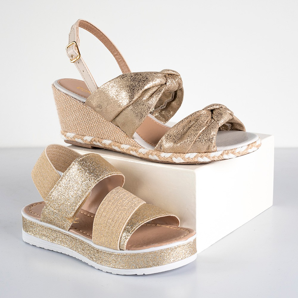 Kit Sandália Anabela Domidona + Sandália Flatform Infantil Menina Fashion | Dourada #Mãeefilha