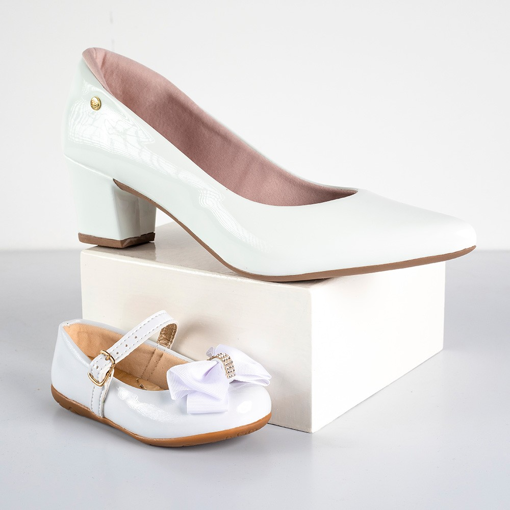 Kit Scarpin Salto Grosso Domidona + Sapatilha Infantil Menina Fashion | Branco #Mãeefilha