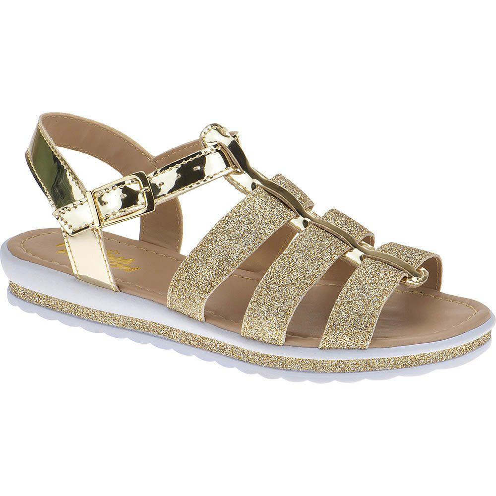 Sandália Anabela Slim Infantil Menina Fashion 69.04.033 | Dourado