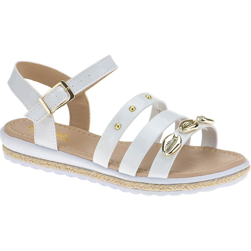 Sandália Anabela Slim Infantil Menina Fashion Concha Strass 69.01.001 | Branco