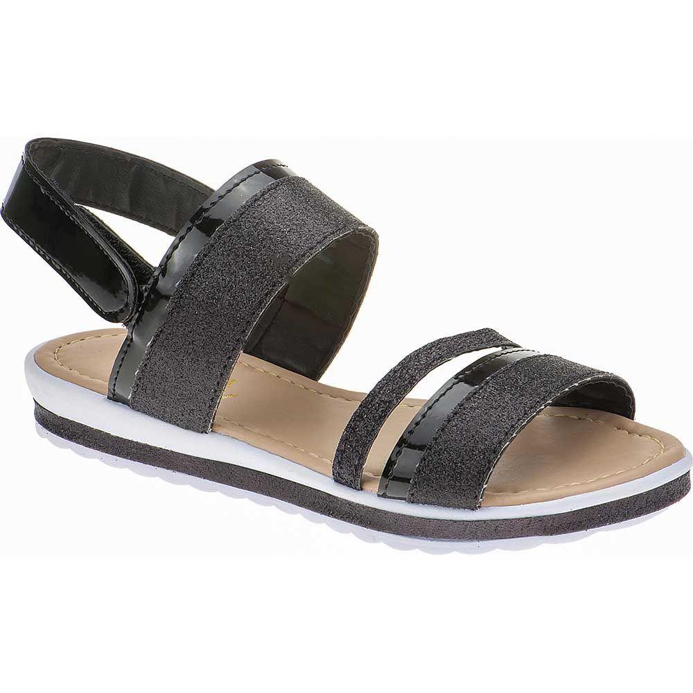 Sandália Anabela Slim Infantil Menina Fashion Strass Brilho Velcro 69.05.009 | Preto