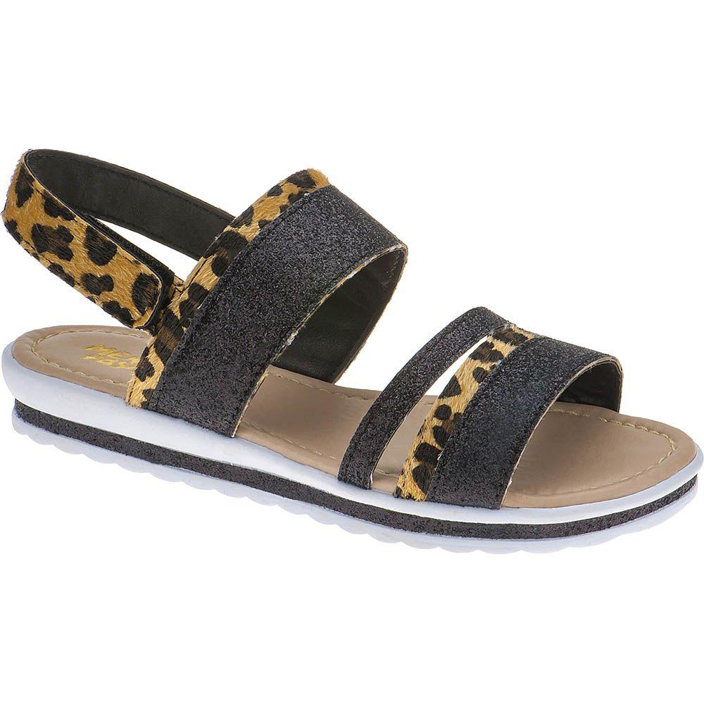 Sandália Anabela Slim Infantil Menina Fashion Strass Brilho Velcro 69.05.025 | Onça