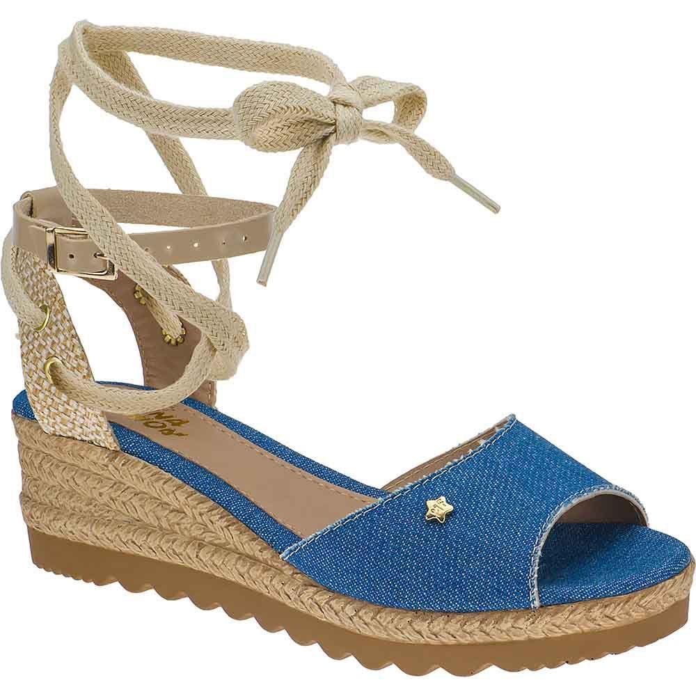 Sandália Anabela Sola de Corda Infantil Tratorada Menina Fashion 87.05.031 | Jeans Azul