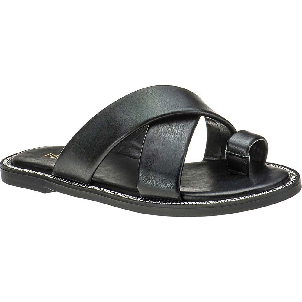 Sandália Chinelo Slide Tiras Cruzadas Feminina Domidona 106.18.009 | Preta