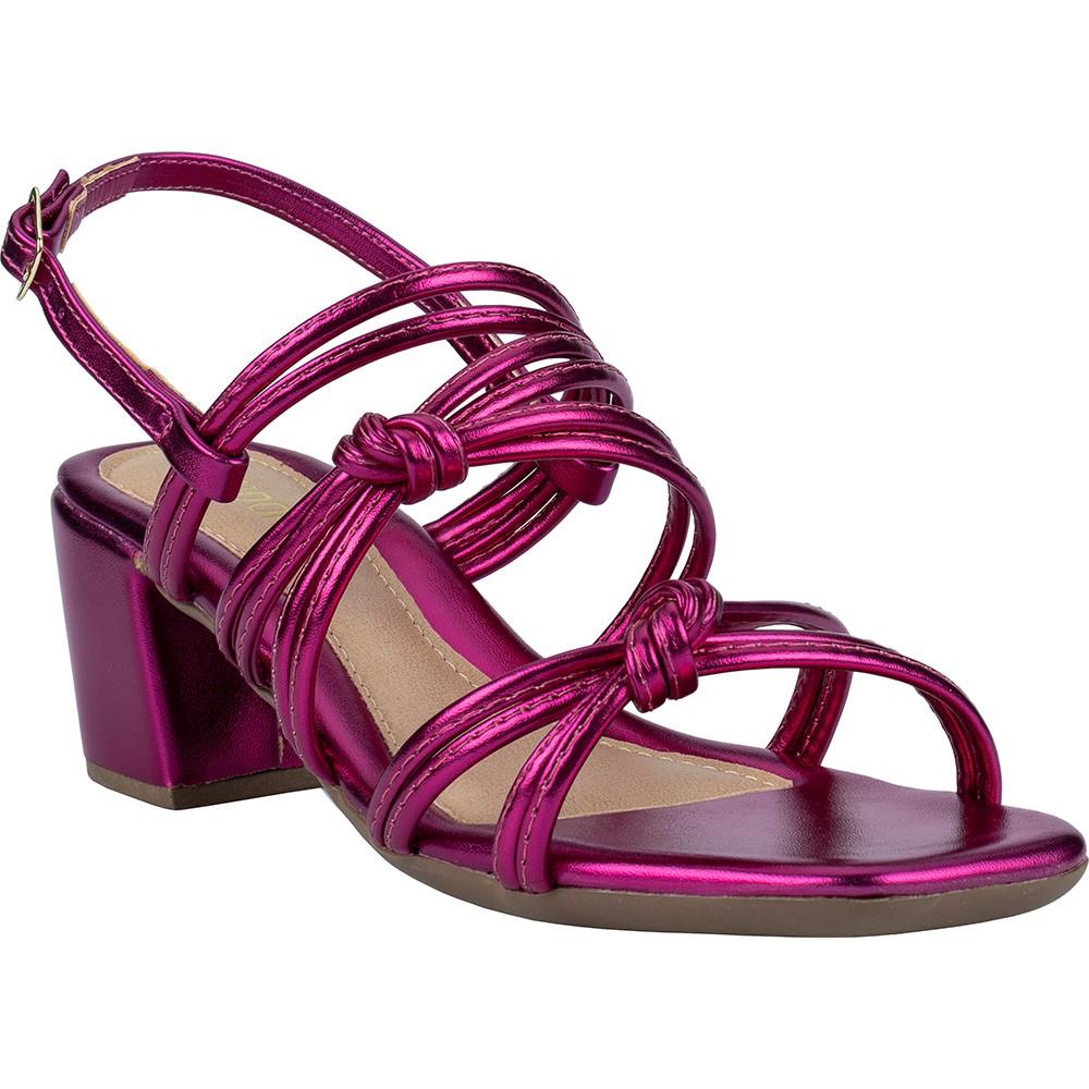 Sandália Feminina Bico Quadrado Metalizada Tiras Nó Salto Bloco 116.28.003 | Pink
