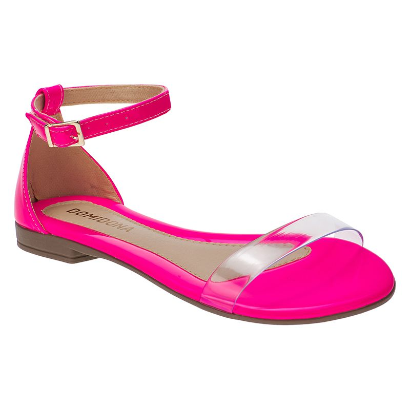 Sandália Feminina Rasteira Domidona Fluorescente Tira Transparente 106.13.080 | Rosa Neon