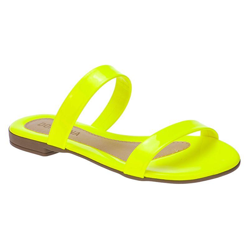 Sandália Feminina Rasteira Domidona Tira Fluorescente 106.12.097 | Amarelo Neon