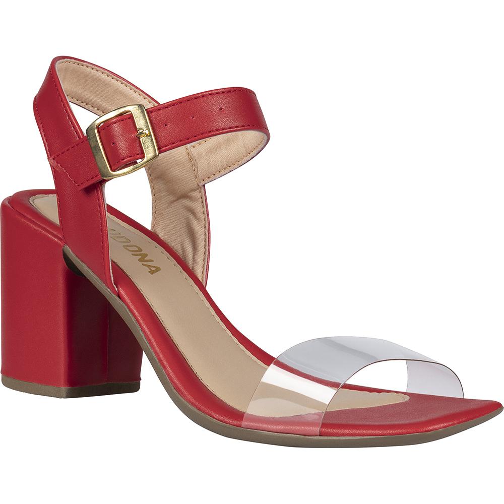 Sandália Feminina Salto Bloco Bico Quadrado Transparente 147.01.012 | Vermelha