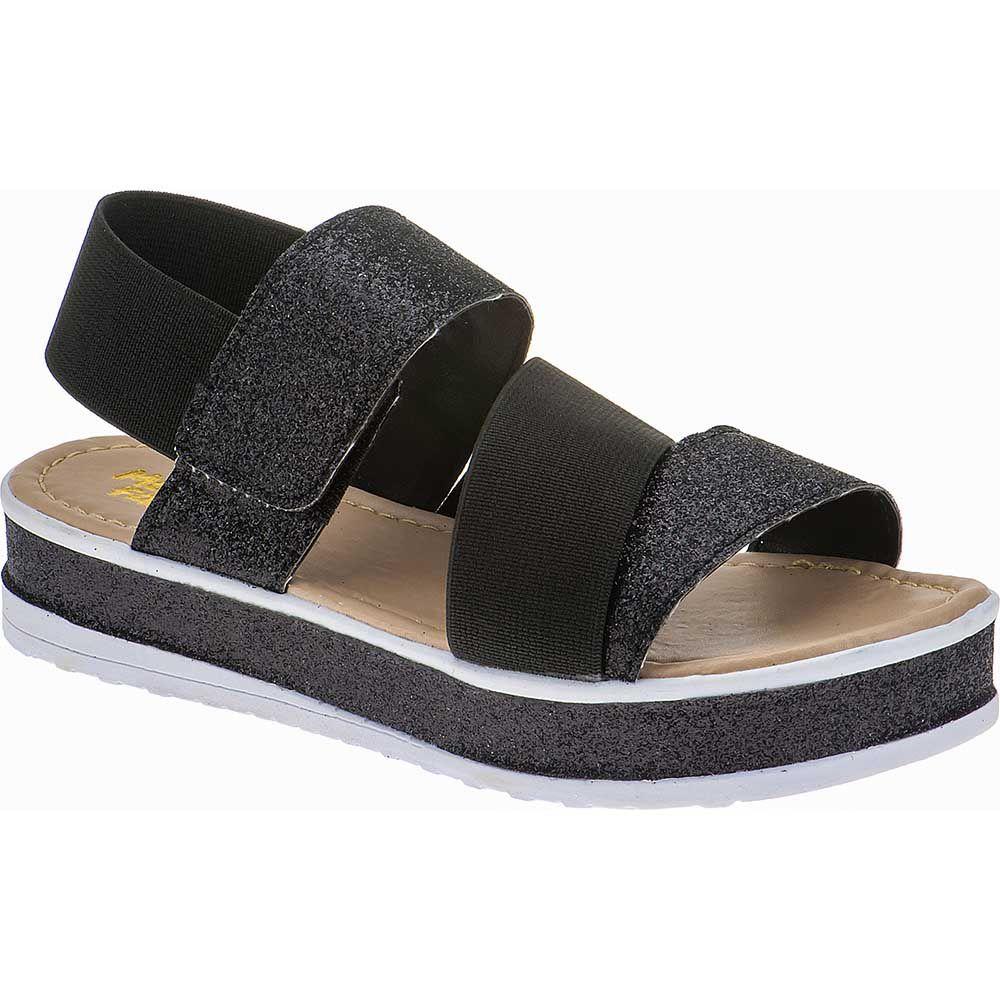 Sandália Flatform Tratorada Infantil Trançado Sola Glitter Velcro 74.72.009   Preto