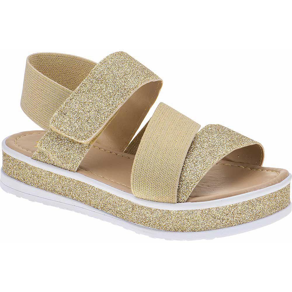Sandália Flatform Tratorada Infantil Trançado Sola Glitter Velcro 74.72.033   Dourado