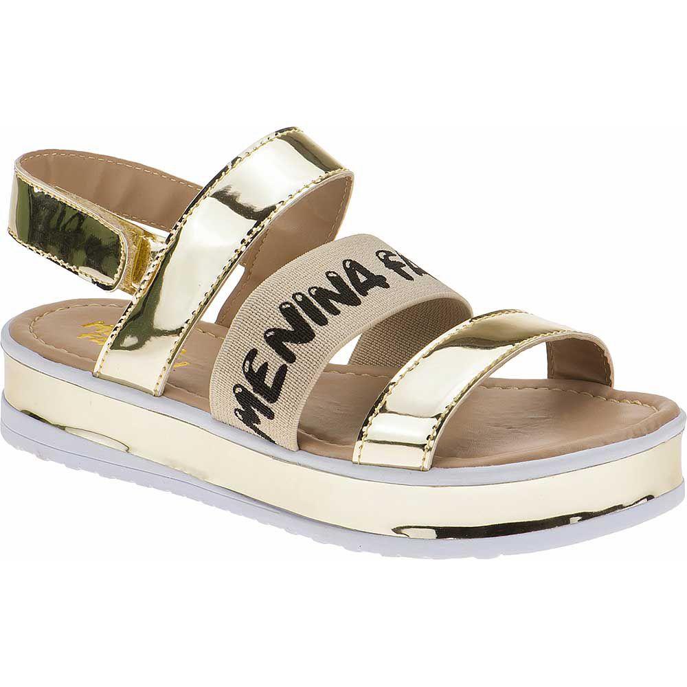 Sandália Flatform Tratorada Infantil Verniz Velcro 74.74.033 | Dourado