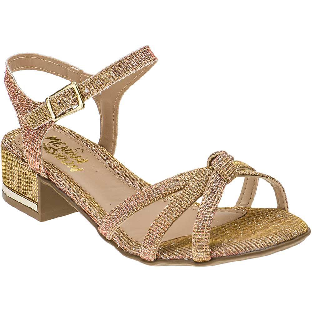 Sandália Infantil Feminina Salto Curto Com Glitter 068071033 | Dourada