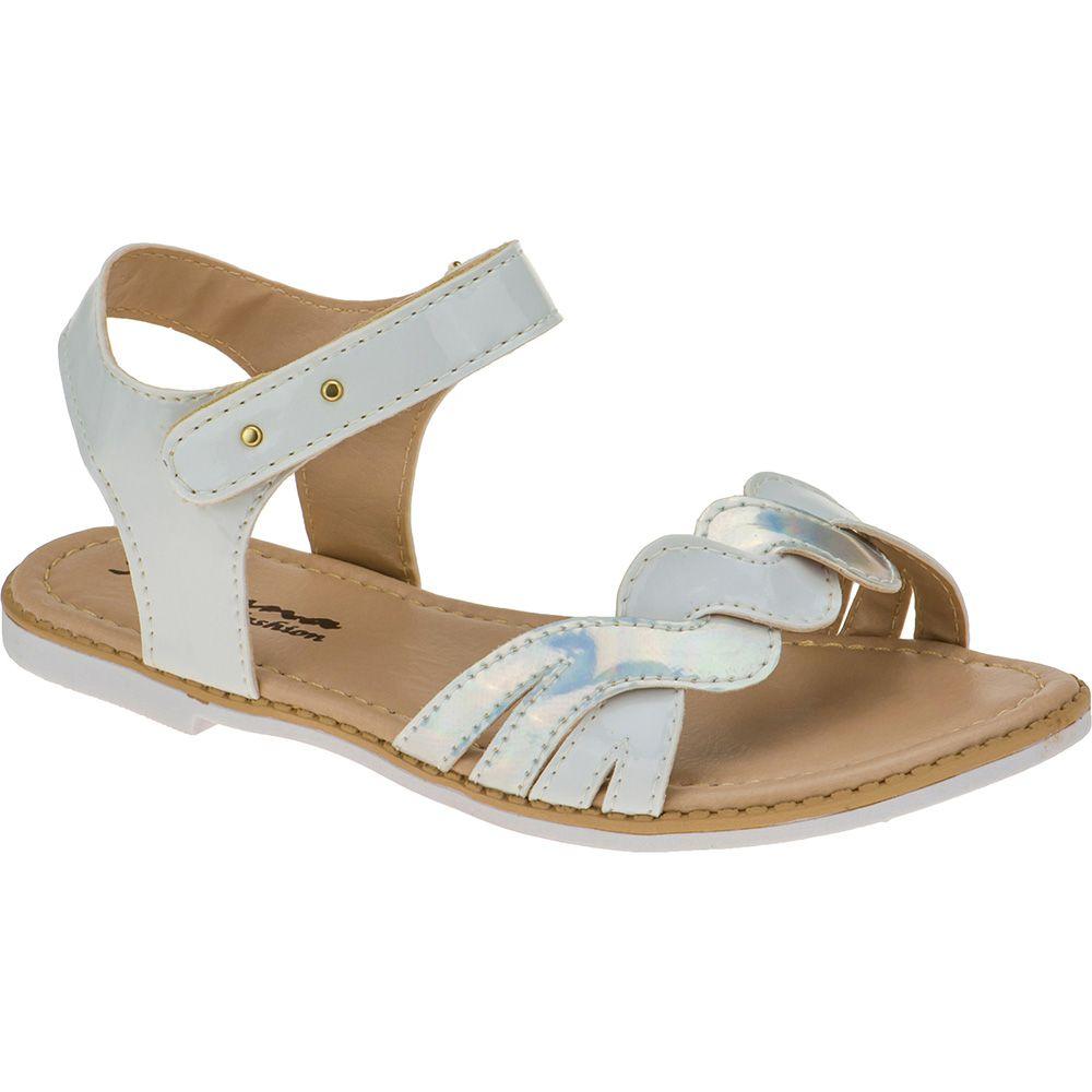 Sandália Infantil Menina Fashion Trançada Rasteira 76.28.001 | Branco