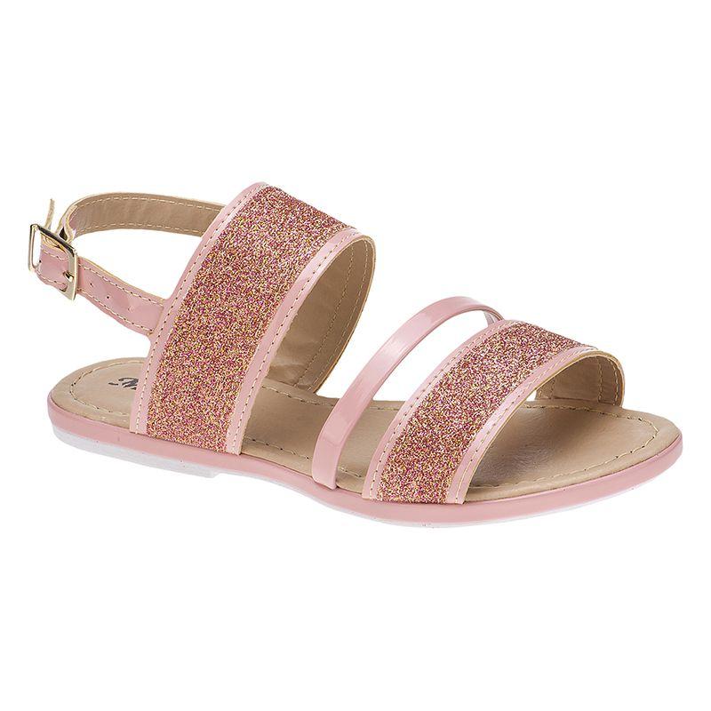 Sandália infantil tira grossa glitter 77.05.041 | Nude