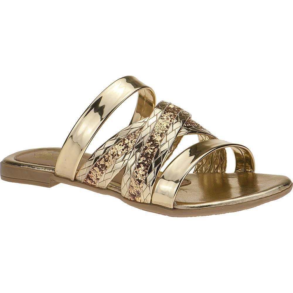 Sandália Infantil Tiras Glitter Menina Fashion Brilho 137.08.033 | Dourado