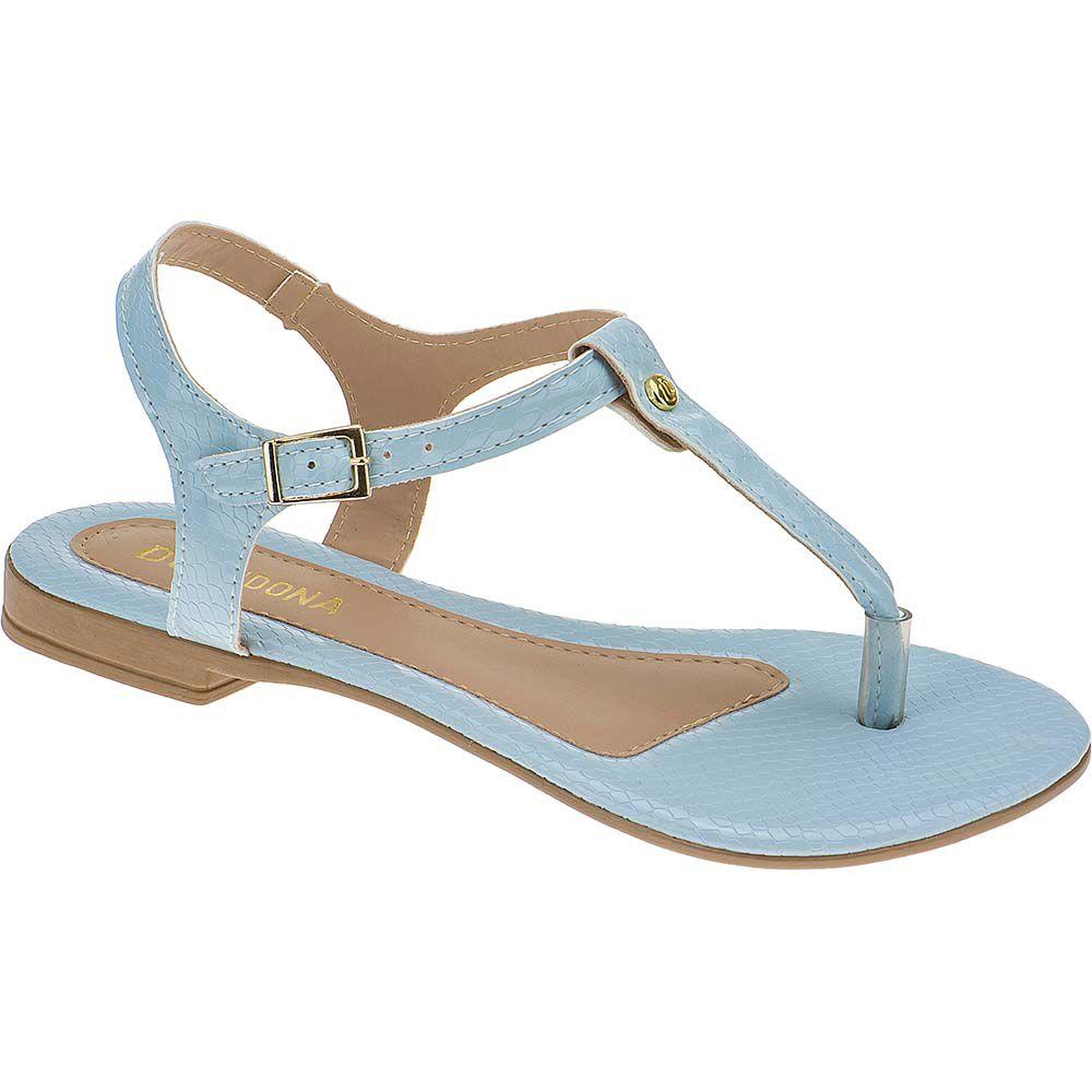 Sandália Rasteira Feminina Domidona Croco Aberta 106.15.118 | Azul Aqua