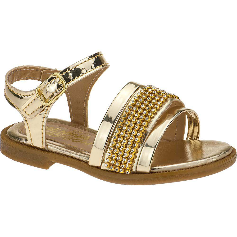 Sandália Rasteira Infantil Feminina Menina Fashion Tira de Strass 137.01.033 | Dourada