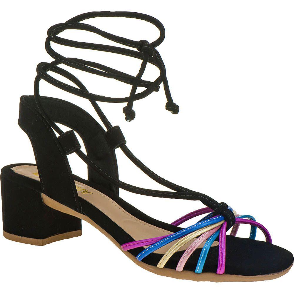 Sandália Salto Grosso Metalizada Com Tiras Coloridas 116.16.009 | Preta