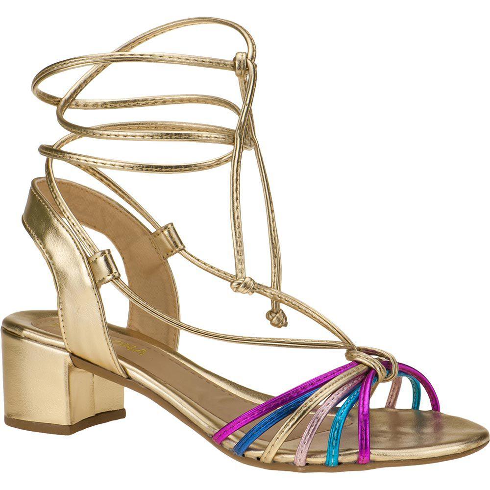 Sandália Salto Grosso Metalizada Com Tiras Coloridas 116.16.033   Dourada