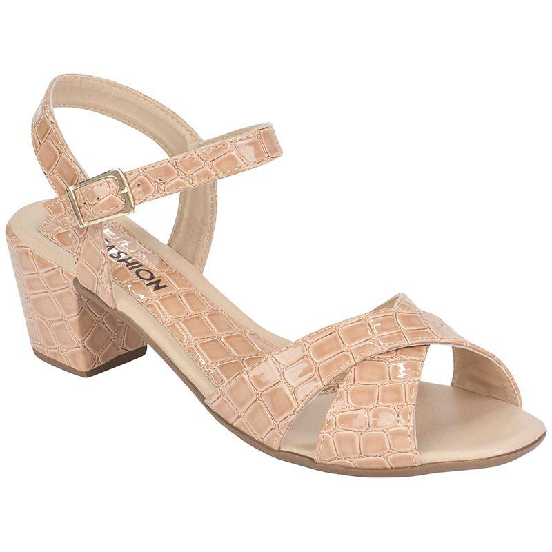 Sandália Salto Grosso Verniz Croco 116.07.041 | Nude