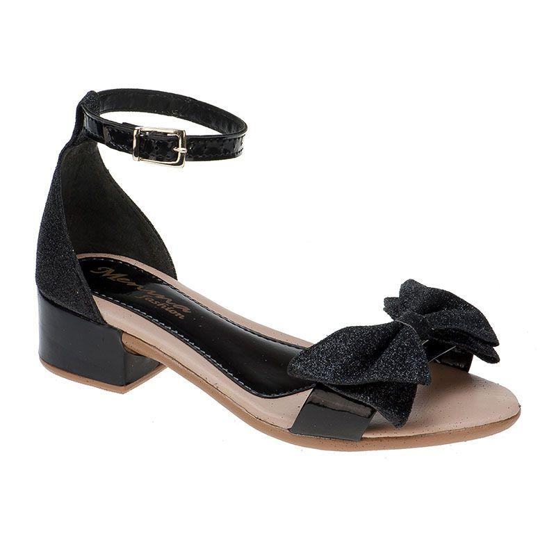 Sandália salto infantil laço 68.46.009 | Preto