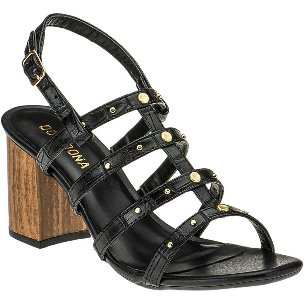 Sandália Salto Tipo Madeira Domidona 116.19.009 | Preta