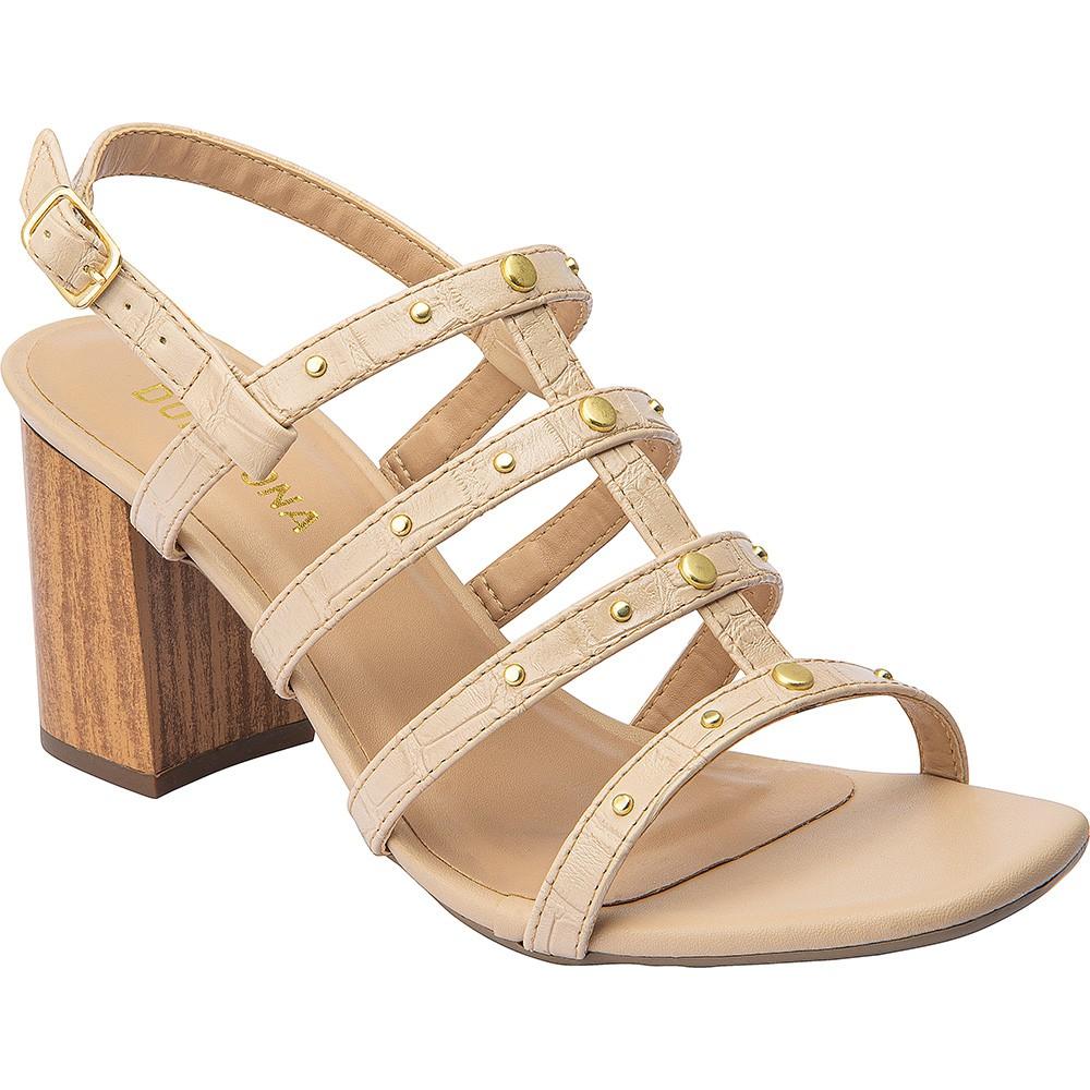 Sandália Salto Tipo Madeira Domidona 116.19.020 | Bege