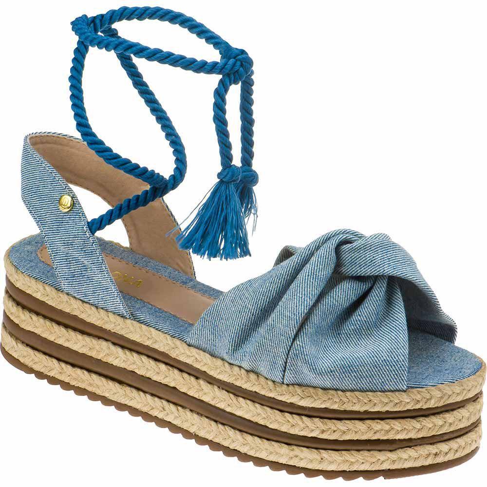 Sandália Sola Alta 3 Cordas Feminina Plataforma Juta Domidona 134.02.031 | Jeans Azul