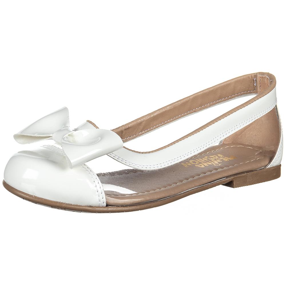 Sapatilha Infantil Menina Fashion Transparente Lacinho Verniz 83.36.001 | Branco