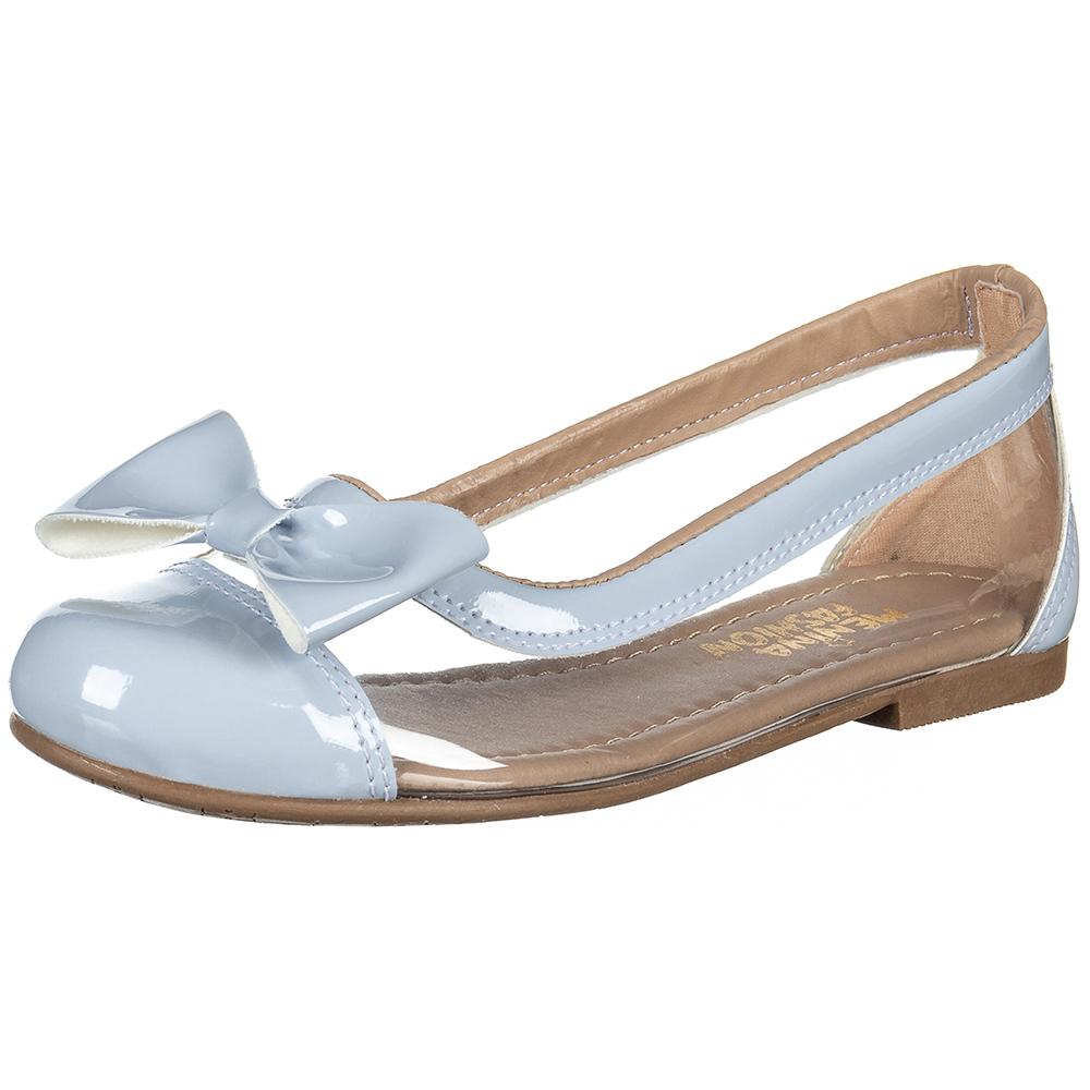 Sapatilha Infantil Menina Fashion Transparente Lacinho Verniz 83.36.118 | Azul Aqua