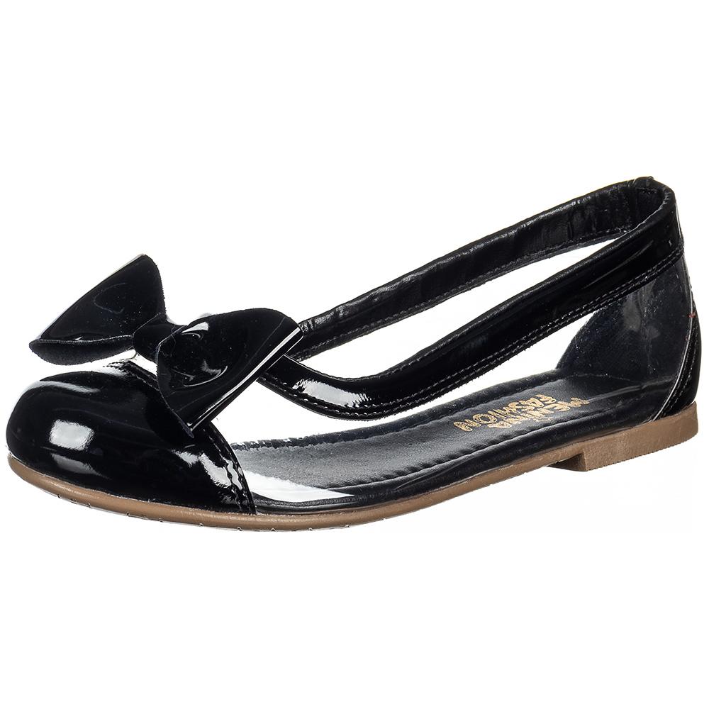 Sapatilha Infantil Menina Fashion Transparente Lacinho Verniz 83.36.172 | Preto Verniz