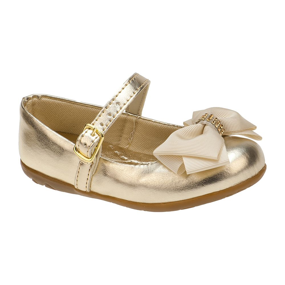 Sapatilha Menina Fashion Infantil Feminina bebê laço strass 129.02.033 | Dourado